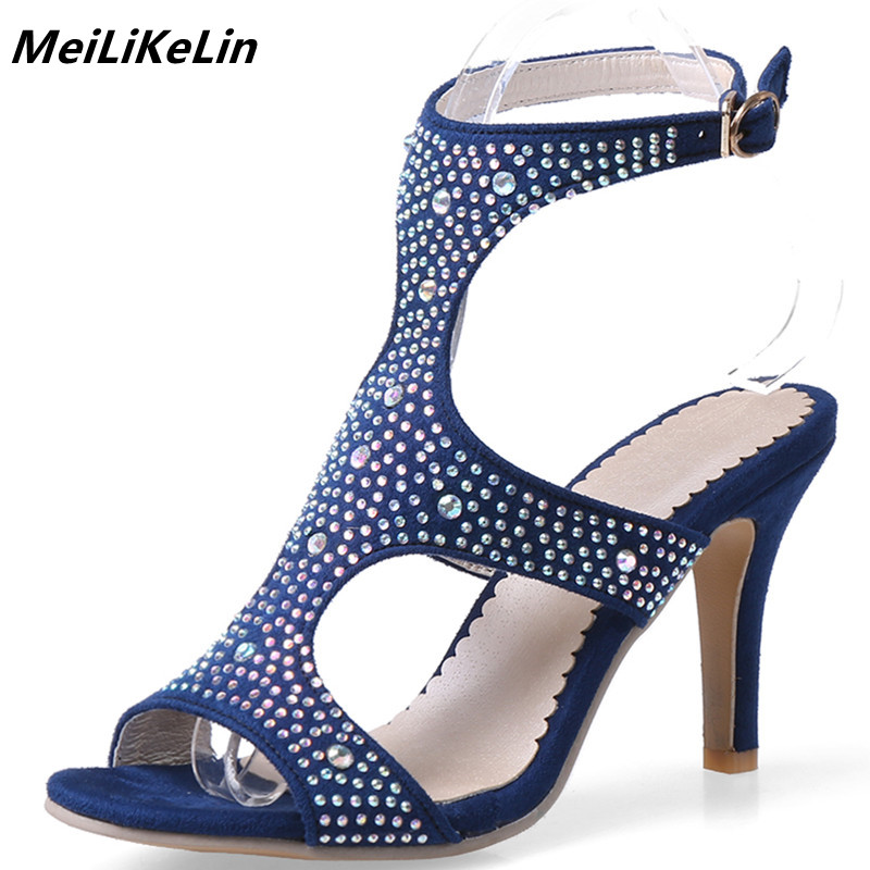 Fashion Cystal Women Sandals High Heels Gladiator Thin Heel Open Toe 2018 New Summer Shoes Woman Wedding Party Shoes Flock Pumps brand shoes woman spring summer rainbow women pumps high heels fashion sexy slip on pointed toe thin heel party wedding shoes