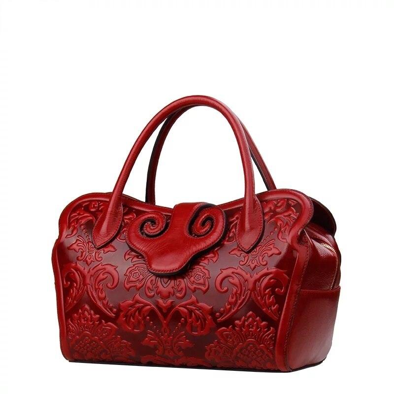Bolso de hombro Vintage de cuero genuino para mujer de diseñador de flores con estampado de flores de estilo chino-in Cubos from Maletas y bolsas    2