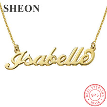 SHEON 100% 925 Sterling Silver Customized Necklace Personalized Custom Name Pendant Neckalce Customized Jewelry For Women sheon 100
