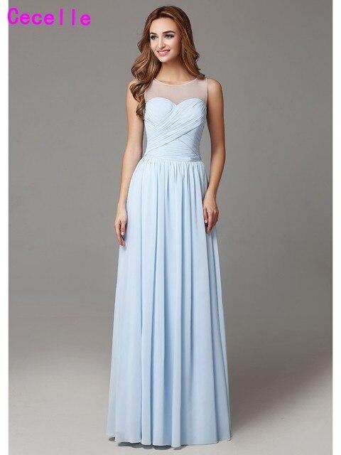 2019 Light Blue Long Bridesmaid Dresses Floor Length Sleeveless Pleats Chiffon Country Bridesmaid Gowns Wedding Party Dress