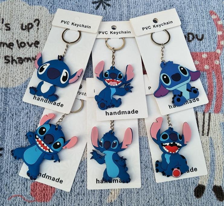 High Quality Cartoon Anime Animal PVC Stitch Keychain Child Toy Present Key Ring Car Key Chains Trinkets Porte Clef Wholesale
