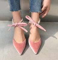 fashion lady Pearls straps pointed toe high heels pink bow velvet women's high heel shoes black pink pearls lace up high heels