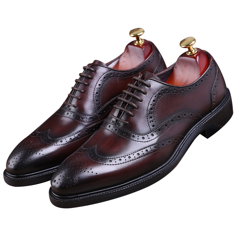 Fashion Brown tan/ black Goodyear Welt shoes oxfords mens business shoes genuine leather dress shoes mens wedding shoes 2016 luxury mens goodyear welted oxfords shoes vintage boss brogue shoes italian mens dress shoes elegant mens gents shoes derby