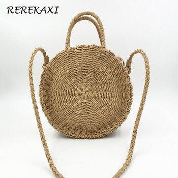 17798f5e9ca3 REREKAXI ручной работы из ротанга плетеная круглая Пляжная Сумка Соломенная  вязаная женская сумка через плечо хаки