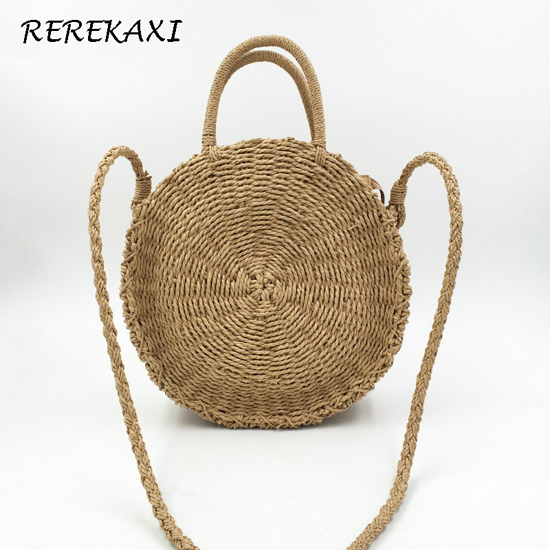 REREKAXI Handmade Rattan Weave Round Beach Bag Straw Knit Lady's Handbag Woman Shoulder Messenger Bag Khaki Beige Tote