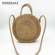 REREKAXI ручной работы из ротанга плетеная круглая Пляжная Сумка Соломенная вязаная женская сумка через плечо хаки бежевая сумка
