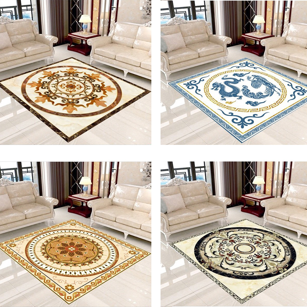 Classic Chinese Chinese Dragon Phoenix Carpet European 3D Ethnic Flower Rugs Bedroom Living Room Square Carpet Mat Custom