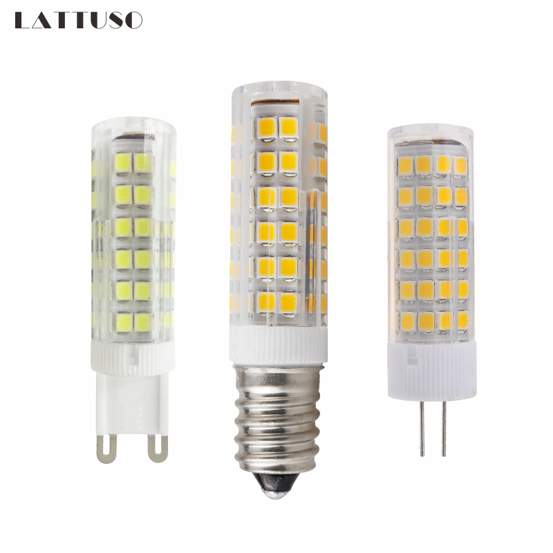LATTUSO Mini E14 G4 G9 LED Bulb 220V SMD 3W 5W 7W 51LEDs 75LEDs Corn Lamp LED Spotlight Replace 30w 40w Halogen Chandelier Light 5w led gy6 35 silicone corn bulb 40w gy6 35 halogen replacement 110v g6 35 bi pin base led crystal ceiling light bulb