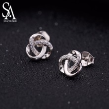 SA SILVERAGE 925 Sterling Silver Stud Earrings Woman Zirconia Earring for Women Jewelry Accessories Gifts