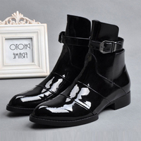Winter Boots For Men High Top Men Shoes Black Patent Leather Men Ankle Boots Pointed Toe