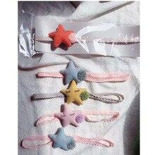 2pcs/set babies girls pure cotton stars elastic headbands infants toddlers kids Pom Pom hair bands girls hair accessories цены
