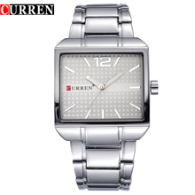 CURREN Men Watch Top Brand Luxury 2019 Racing Sport Clock Man Square Case Silver Band Waterproof Fashion Male Quartz Wristwatch