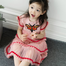 DFXD 2018 Summer Little Girls Dresses England Style Butterfly Embroidery Pink Layered Dress Birthday Party Princess