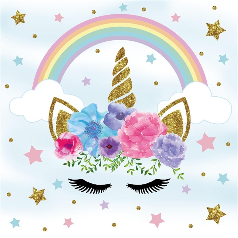 Laeacco Birthday Rainbow Unicorn Communion Party Kid ...