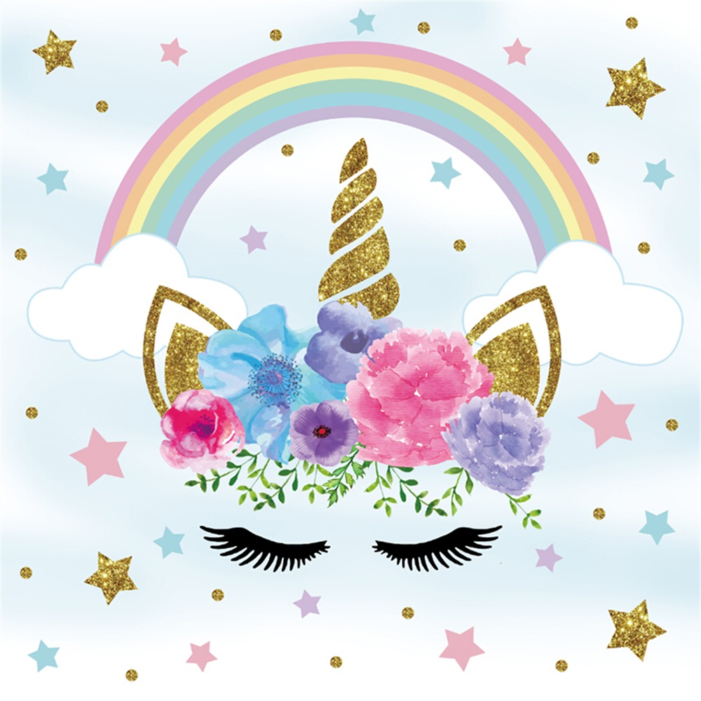 Laeacco Flower Rainbow Unicorn Party Baby Children Photography Backgrounds Customized Photographic Backdrops For Photo Studio laeacco brick wall clock christmas tree indoor scene photography backgrounds vinyl custom camera backdrops for photo studio
