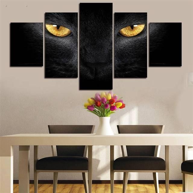 5 panels hd printed animal black panther eyes wall art painting