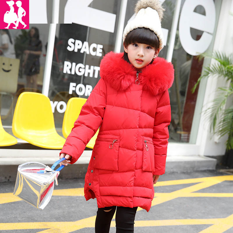 2018 girls down jacket for girl coat large fur hooded collar long children outerwear parka coats overcoat -20--30 degree jackets поводок для собак happy house luxury цвет темно коричневый длина 125 см