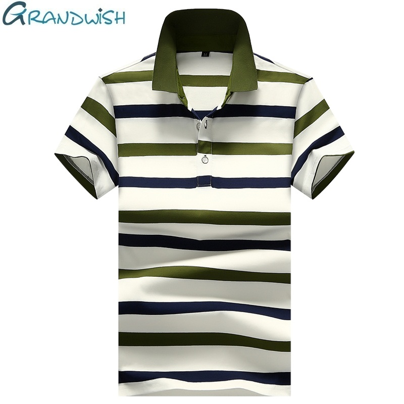 Grandwish Summer Casual   Polo   Shirt Men Cotton Breathable Striped Mens Clothing Solid Color Man Short Sleeve   Polos   M-4XL,NA032