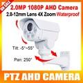 "2016 nuevo modelo de 2.0mp impermeable hd1080p ptz ahd cámara 1/3 ""sony exmor cmos, zoom óptico 4x, ir 30 m"