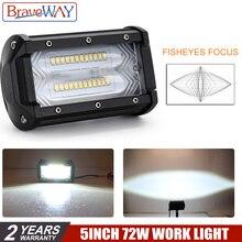 BraveWay 5 Inch Led Fog Lights 72W 3000K 6000K Flash Dula Color Extra light for Trucks SUV ATV 4x4 Offroad Work Light 12V 9D