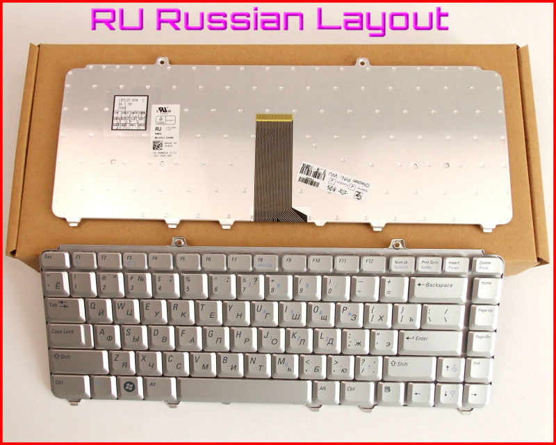 Keyboard RU Russian Version For Dell Inspiron 1318 1400 1500 1520 1521 1540 1545 1525 NK750 MK750 Laptop Silver