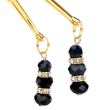 Black Rubber Beads Pair Breast & Labia Clips For Women's