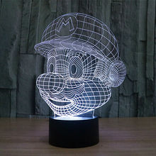 Бесплатная доставка изменение цвета 3D мультфильм игра супер марио из светодиодов ночные огни с USB кабель из светодиодов настроение лампы для ребенка игрушки