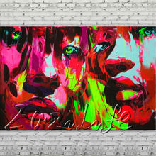 Palette knife portrait Face Oil painting Character figure canvas Hand painted Francoise Nielly wall Art picture 009