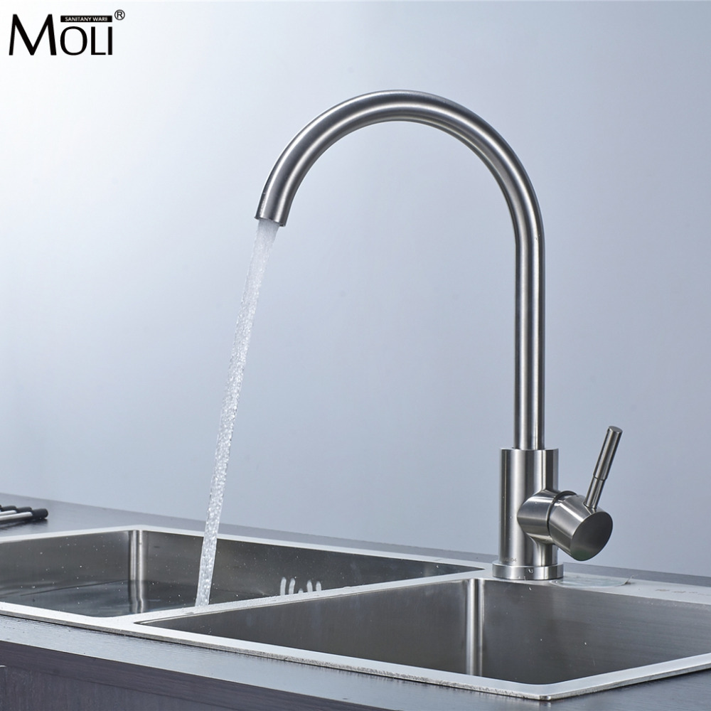 Kitchen Faucets 304 Stainless Steel Kitchen Mixer Single Handle Single Hole Kitchen Faucet Mixer Sink Tap Kitchen Faucet MO202
