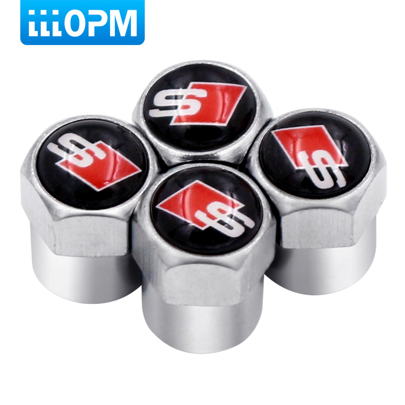 4pc Car-Styling Accessories Auto Valves Caps Case For Audi Sline A6 C5 A4 B6 A4 B8 A4 B7 A4 B5 A6 C6 S Line A3 A5 Q5 Car Sticker