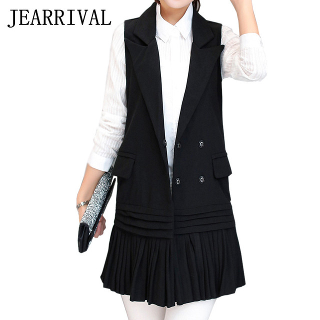 JEARRIVAL 2017 New Women Vest Spring Fashion Elegant Waistcoat Casual Office Work Wear Sleeveless Coats Colete Gilet Femme
