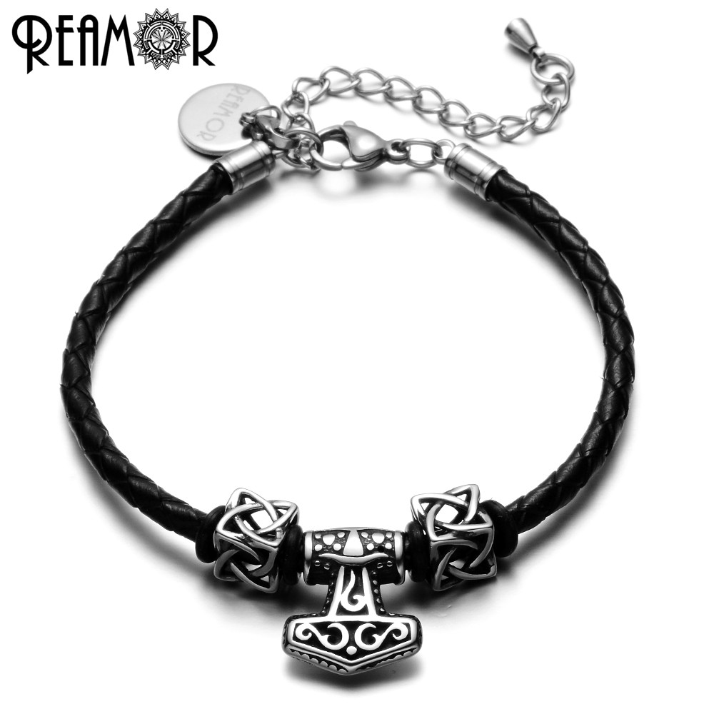 REAMOR 316L Stainless Steel Punk Style Anchor Bracelets Adjustable Black Braided Leather Charms Bracelet Men Women Jewelry