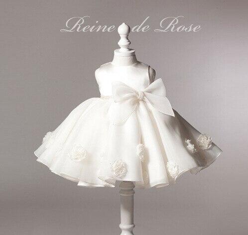 Grand arc fleur fille robes blanc boule sans manches Vestido pour mariage fête d'anniversaire formelle fille vêtements 2019 154715