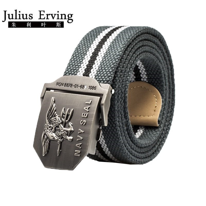 2017 Brand Mens Belt Navy Seal Metal Smooth Buckle Striped Canvas Belt Knit Strap Military Belts Eagle Waist Cinto Unisex