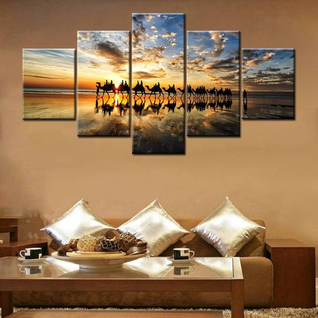 prints for office walls. Animals Wall Art Canvas Prints Sunset Camel Landscape Painting For Office Decor Poster Artwork Walls
