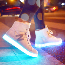 2016 Winter High Top Letter Led Shoes For Women Glowing Dance Black Wihte Light Up New