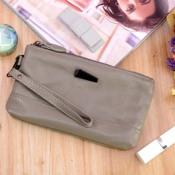 Designer clutch female genuine leather small women wristlet bags for mobile fashion ladies purse grey real leather handbag