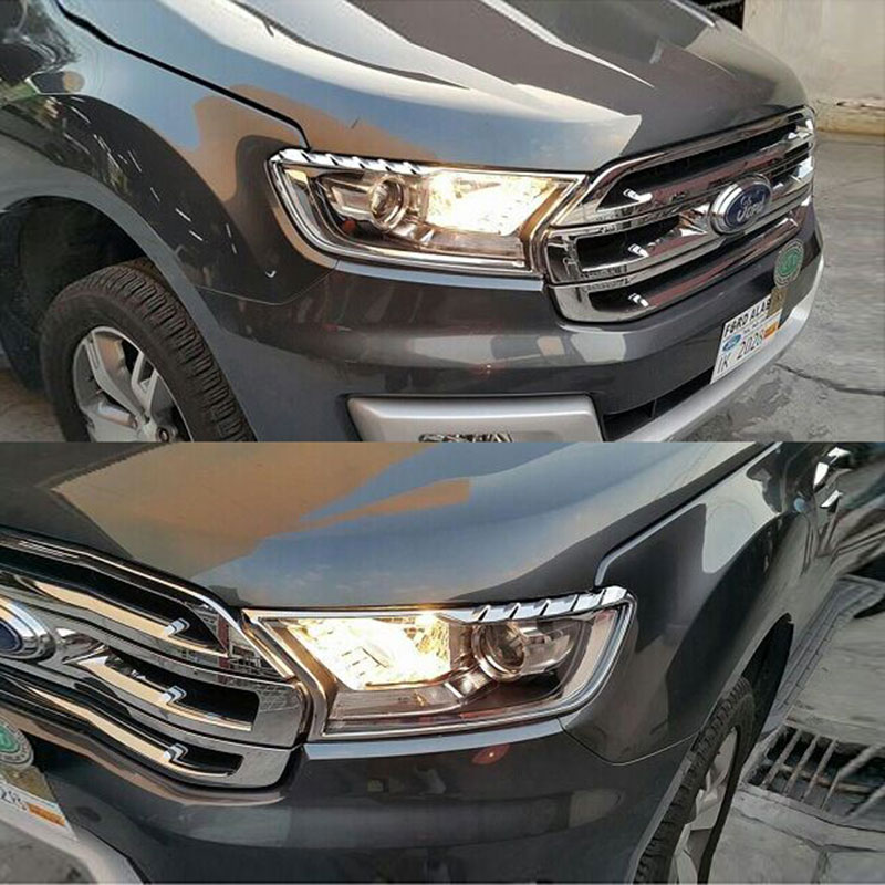 2016 2017 For Ford Ranger Everest Endeavour Accessories Chrome Front Lights Surround Trim