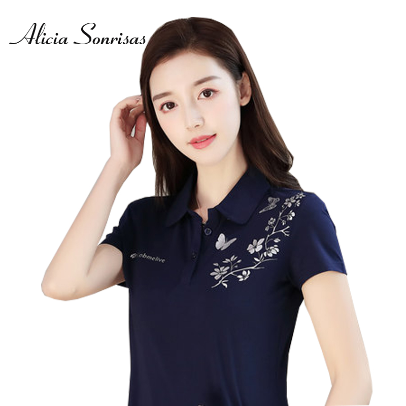 Summer Polo Shirt Long Sleeve Printing Floral Short Sleeve Camisas Mujer Plus Size M-4XL Pure Cotton Clothers for Women