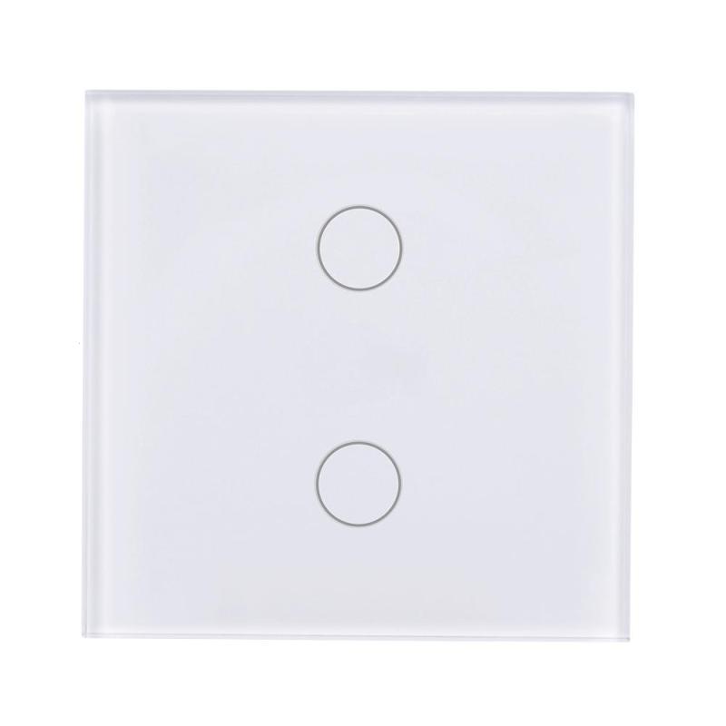 цена на QIACHIP EU Plug Wireless WiFi Smart Switch 2 Gang Light Wall Switch Touch Tempered Glass Panel APP Remote Control Smart Home