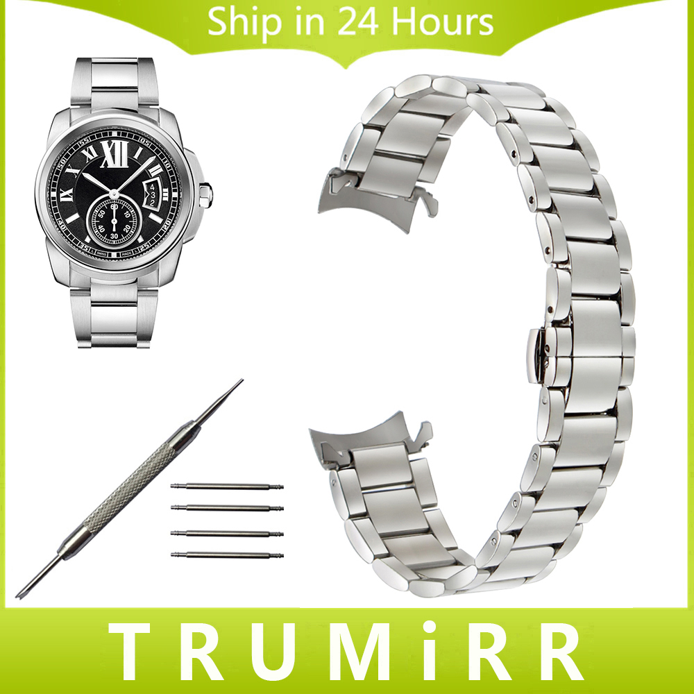 Stainless Steel Watchband Curved End Strap for Cartier Calibre Watch Band Butterfly Buckle Belt Wrist Bracelet 18mm 20mm 22mm curved end stainless steel watchband for rado men women watch band wrist strap butterfly clasp belt bracelet 18mm 20mm 22mm 24mm