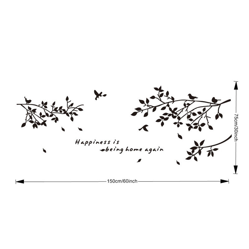 Removable Wall Stickers Tree Branch Bird Letters Wall Decal Mural Sticker  Art Home Decor PVC Wall Paper