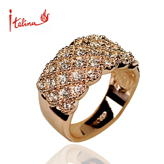 Italina CZ Diamond Jewelry wedding Rings for women Rose Gold plated Austria Crystals rings female anel bijoux gift top quality