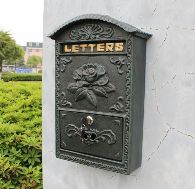 Embossed Trim Decor Bronze cast iron mailbox Wall mounted Mail Box High quality Garden Decorative mailbox Garden Decorative mail