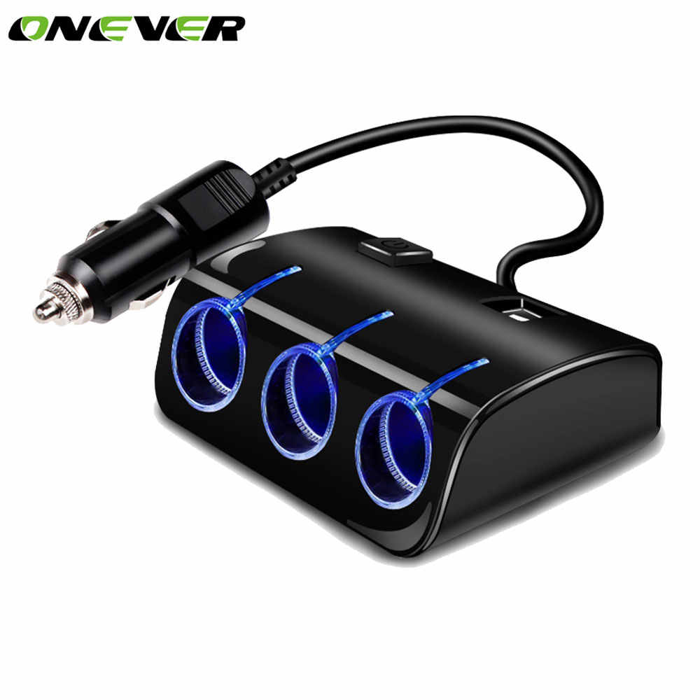 Onever 1 to 3 USB Car Cigarette Lighter Socket Splitter Hub 12V/24V Power Adapter with Switch Dual USB LED 5V/1.2A Car Charger
