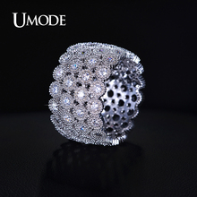 UMODE Bohemia Anillos Jewelry Micro CZ Simulated Wide Band Rings For Women Valentine s Day Gifts
