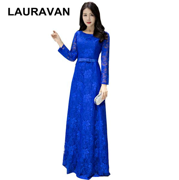 lace formal long sleeve royal blue lady   bridesmaid     dresses   2019 lace gown engagement   dress   for woman 2018 special occasion