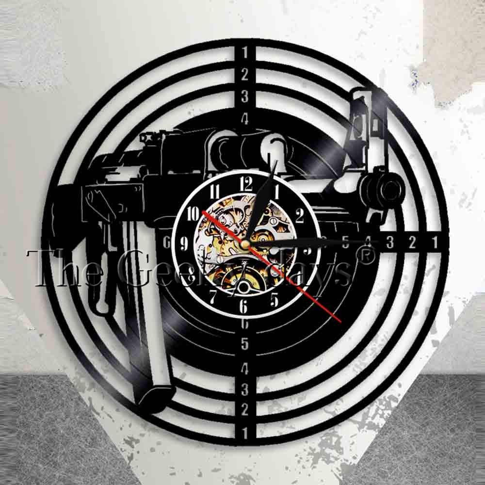 射撃銃ビニールレコード壁掛け時計射撃ターゲットビニールクロックエアライフルサークル現代ビニール陸軍壁アート装飾時計サークル