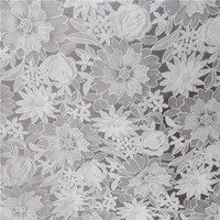 High quality White French African Lace Fabric for Wedding dress Embroidery flowers Lace fabricfish tail Slim white Lace fabric