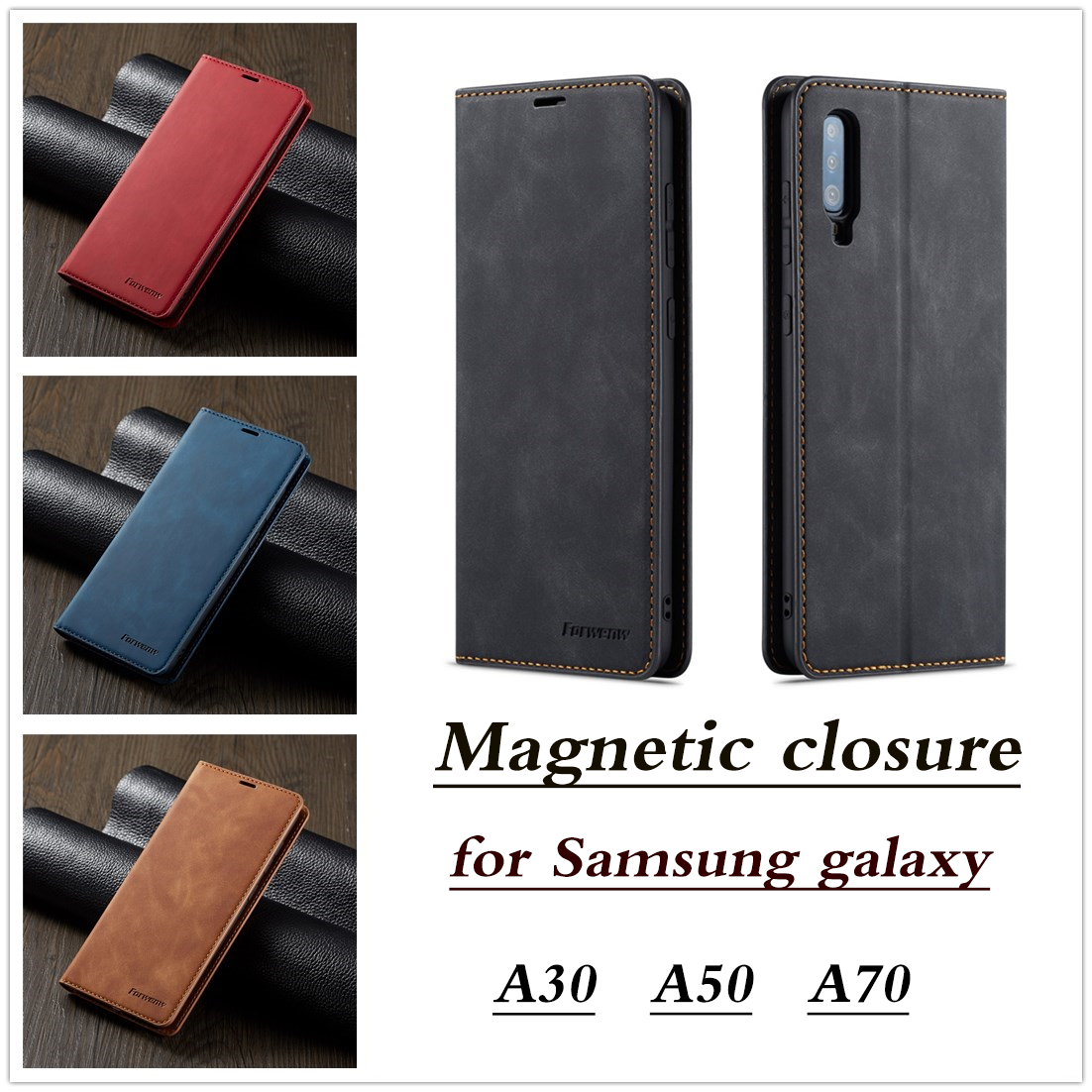 Case for Samsung Galaxy A50 A70 A30 A40 A 30 50 70 40 Flip Leather Coque Book Cover Luxury Business Magnetic Wallet Holder Cases